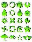 Green icons. Vector illustration of a set of different green icons Royalty Free Stock Images