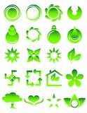 Green icons. Illustration of a set of different green icons vector illustration