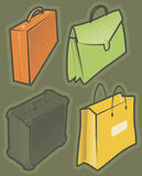 Green icons with bags Stock Photo
