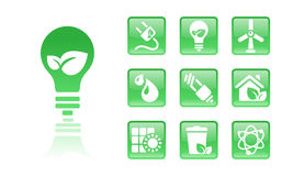 Green-icons-bulb. Set of glossy green eco icons; easy to edit, change color Royalty Free Stock Photo