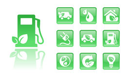 Green-icons-gas. Set of 10 glossy green eco icons; easy to edit, change color Stock Photo