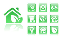 Green-icons-home. Set of glossy green eco icons; easy to edit, change color Royalty Free Stock Image