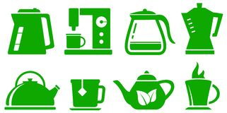 Green icons kettle set Stock Photos