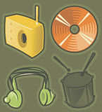 Green icons for music Royalty Free Stock Photography