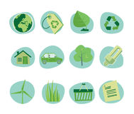 Green Icons Retro Revival Collection - Set 5 Stock Images