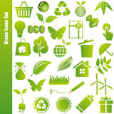 Green icons set. Illustration Royalty Free Stock Photos