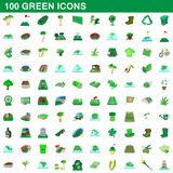 100 green icons set, cartoon style Stock Photography