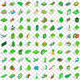 100 green icons set, isometric 3d style Royalty Free Stock Image