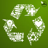 Green icons set in recycle symbol Stock Photos