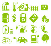 Green icons. A Set of green web icons for environmental use Royalty Free Stock Photography