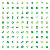 Green icons and signs. Set of one hundred green icons for website interface, business designs, finance, security and leisure. Vector illustration Royalty Free Stock Photography