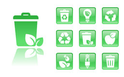 Green-icons-trash. Set of glossy green eco icons; easy to edit, change color Stock Photography