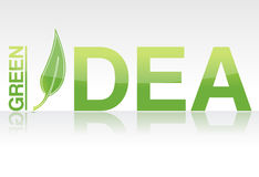 Green idea. Rendered Green idea word isolated over white Royalty Free Stock Photos