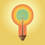 Green Idea. Vector illustration of an abstract tree inside a large lightbulb Stock Photography