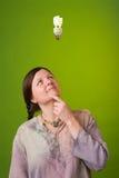 Green idea. An environmentalist has a green idea Royalty Free Stock Photo