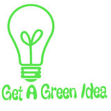 Green idea light-bulb. Light bulb on white background green idea poster Royalty Free Stock Images