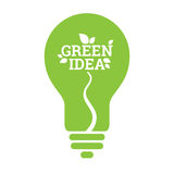 Green Idea Light Bulb Leaf Icon Stock Photo