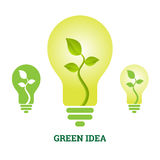 Green Idea Plant Light Bulb Royalty Free Stock Image