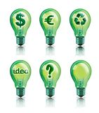 Green ideas. Digital illustration of light bulbs with green ideas saving money, recycling and no idea Stock Photos