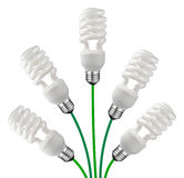 Green Ideas - Saver Bulbs and Cables Isolated Stock Photo