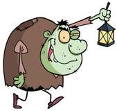 Green Igor carrying a lantern. Cartoon character halloween igor with lantern stock illustration