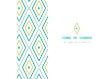 Green ikat diamonds frame horizontal seamless Royalty Free Stock Images