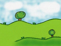 Green Illustration. Clip art illustration of green hills, and trees under a cloudy sky Stock Photo