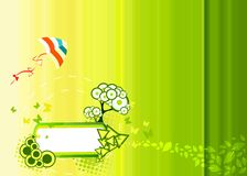 Green illustration with frame for text. Butterflies, tree and kite Stock Photo