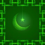 Bright green illustration with moon and star. Design template for greetings islam cards, posters, banners, invitations. Green illustration with moon and star Royalty Free Stock Photos