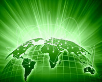Green image of globe. Green vivid image of globe. Globalization concept Stock Image