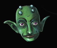 Green Imp Face. Portrait of a green imp-like creature Royalty Free Stock Images