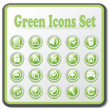 Green incons set Stock Photos