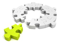 Green individual piece for puzzle round concept. 3d Royalty Free Stock Photos