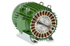 Green industrial electric motor Royalty Free Stock Image