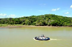 Green and industrial landscape of the Panama Canal. royalty free stock photos