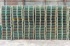 Green industrial steel forkllift pallets Royalty Free Stock Images