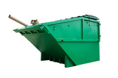 Green Industrial Waste Bin Isolated. Over White royalty free stock photo