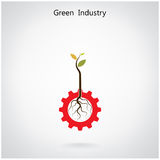 Green industry concept. Small plant and gear symbol, business an Royalty Free Stock Photo