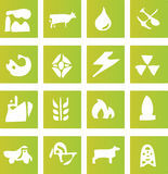 Green Industry Icons. A set of sixteen green vector icons that represent the different major industries including; coal, gas, oil, electricity, power, mining stock illustration