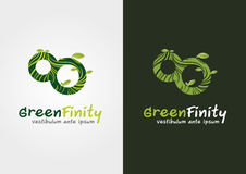 Green Infinity. An infinity shape mix with an eco. Stock Photography