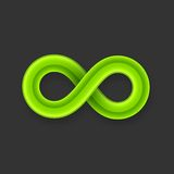 Green infinity symbol icon from glossy wire with Royalty Free Stock Photo