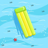 Green Inflatable Matrass With Blue Sea Water On Background. Beach Vacation Related Illustration Drawn From Above In Simple Vector Cartoon Style Stock Photo