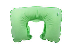 Green inflatable neck pillow Royalty Free Stock Photos