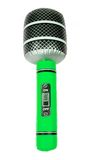 Green Inflatable Toy Microphone. Isolated on White stock photos