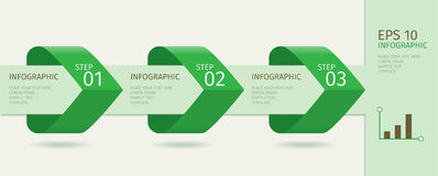 Green infographic arrows with step up options. Vector template in flat design style. Green infographic arrows with step up options. Vector template in flat Stock Photos
