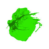 Green Ink brush paint stroke with rough edges on white background Royalty Free Stock Image