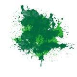 Green ink splatter splash brush art abstract design element isolated on white background empty blank graphic. Green ink splatter splash brush dots art abstract vector illustration