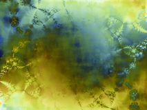 Green Inkblot Paint Texture. An abstract texture in blue and gold which can be used as a background image or mask Stock Photography