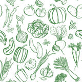 Green inky vegetable pattern Royalty Free Stock Images