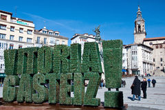 Green inscription of Vitoria Gasteiz Royalty Free Stock Photography